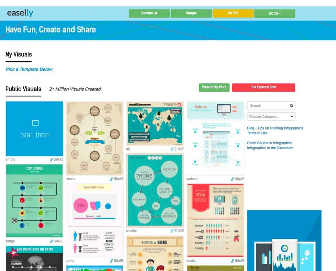 The dashboard on Easelly, an online tool for the creation of infographics.
