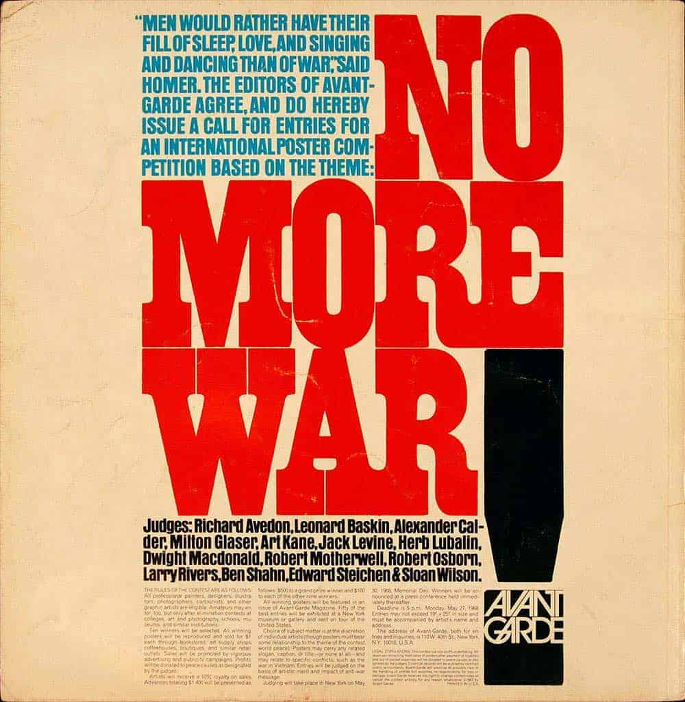 Avant-Garde magazine, 1967: call for entries on a poster contest with the topic 'No More War'. Visual hierarchy achieved by contrast of colour and size.
