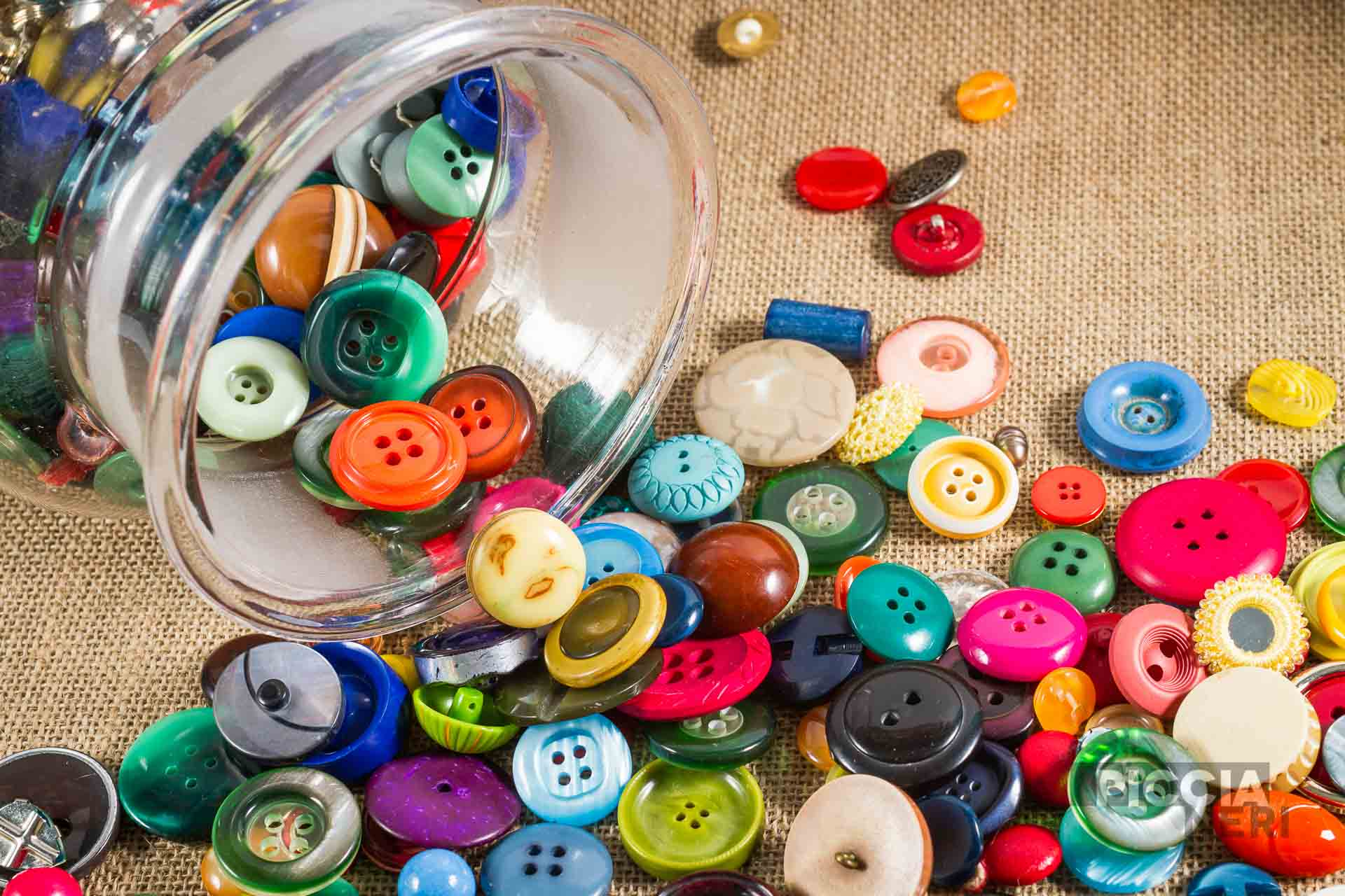 Mutli-coloured vintage buttons, haberdashery, great variety.