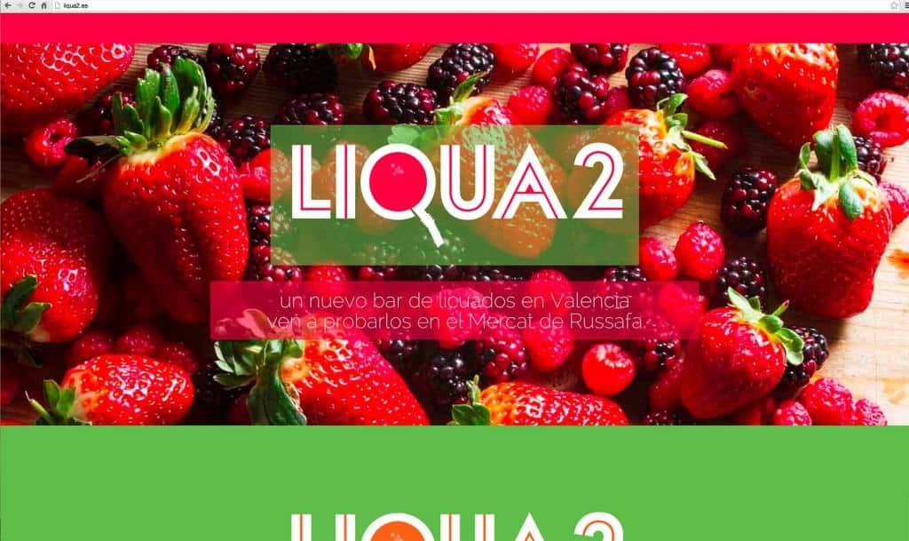 Top section of the scrolling 1-page parallax website for Liqua2. The typography plays with the idea of the straw and the colour represent the different juices. The 'c' of 'licuados' (juices in Spanish) has become a Q that represents a glass seen from above, with a straw coming out of it –which has made the client happy. The juicy photography was also taken by me.