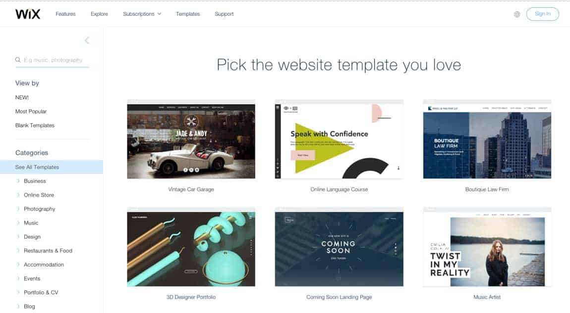 Wix templates page. When you choose a Wix template, you might love it but you're stuck for life. No divorce possible. So either choose very wisely, or go with WordPress.