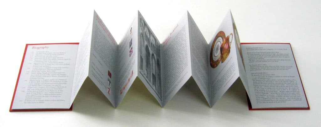 Concertina booklet opened up, accompanying the William Beckford exhibition at the Dulwich Picture Gallery, London