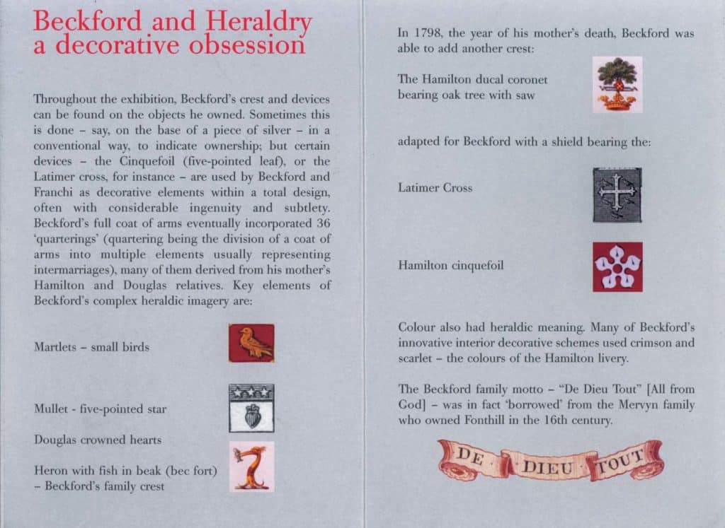 Heraldry spread from William Beckford Booklet, Dulwich Picture Gallery, London