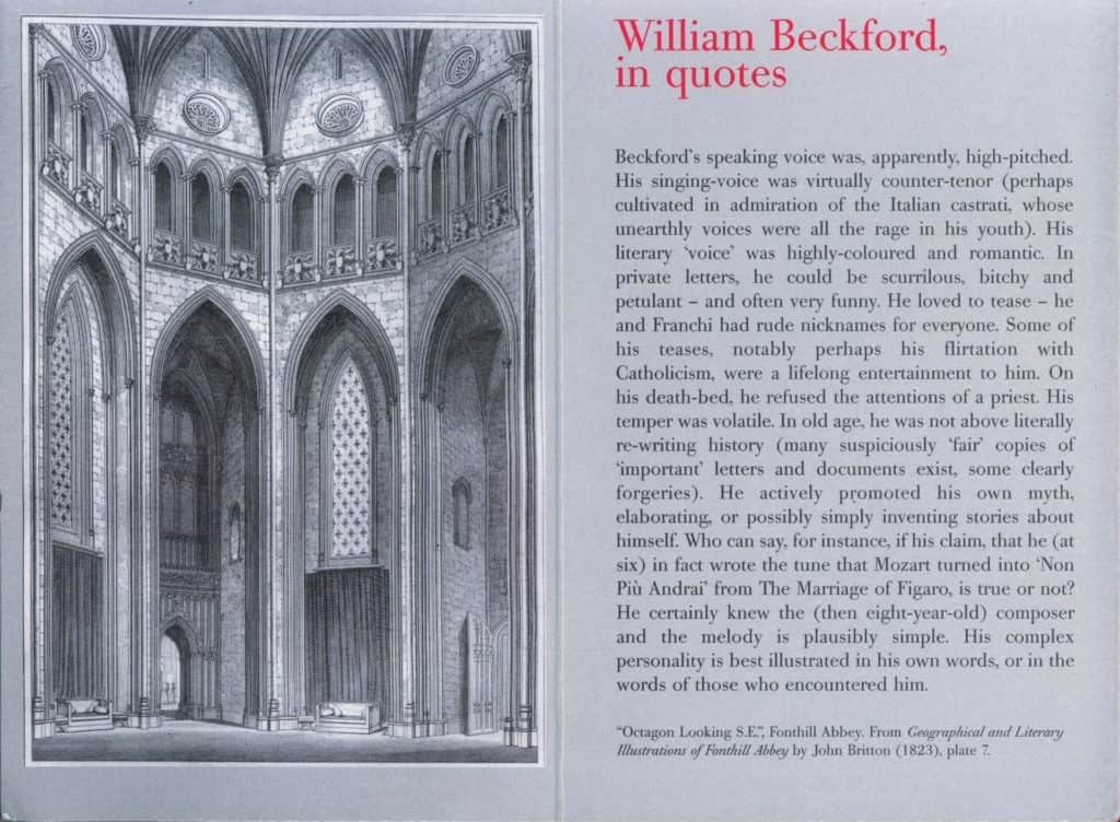 Quotes spread from the booklet accompanying the William Beckford exhibition at the Dulwich Picture Gallery, London.