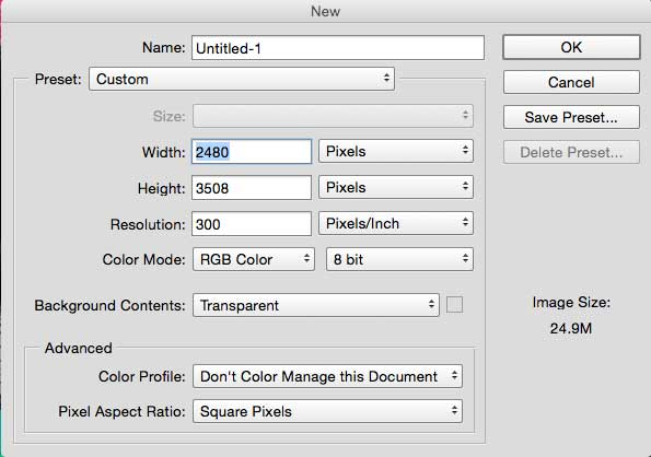 The Create a new file window in Photoshop
