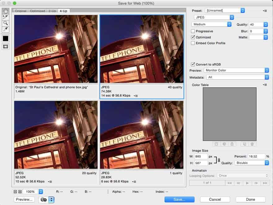 The Save for Web panel with the 4 different image views_ Original, Optimised, 2-up and 4-up.