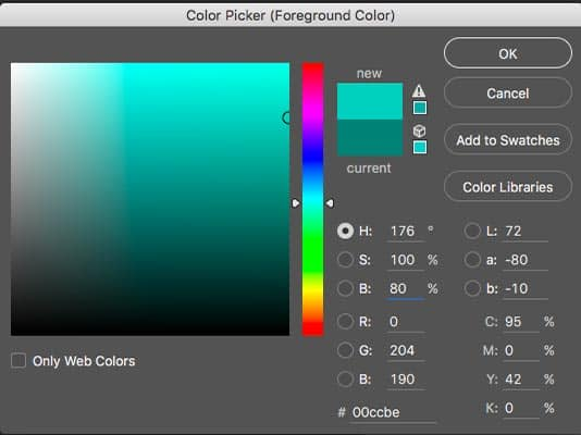 The same teal green colour is described in 5 different ways in the Photoshop colour picker: HSB, Lab, RGB, hexadecimal (the box with 6 numbers preceded by a hashtag) and CMYK.