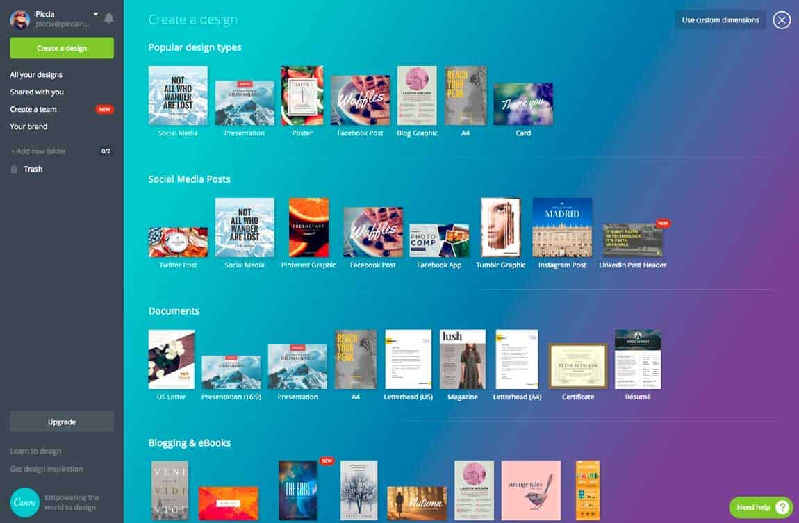The Canva dashboard, with dozens of templates and types of documents to chose from.