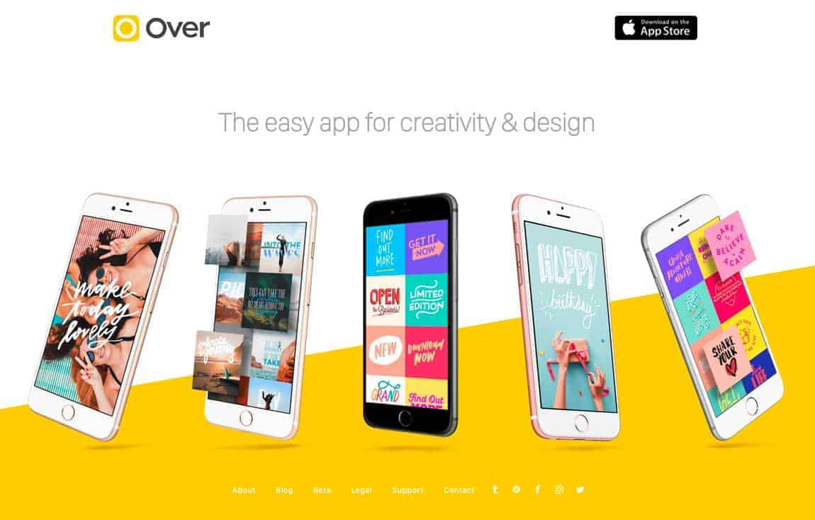 Over, a mobile app to overlay quirky images with inspiring quotes.