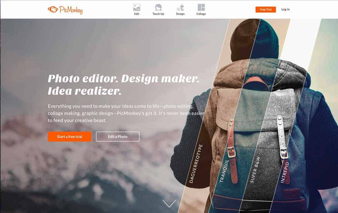 Home page of PicMonkey, a photo editor and design tool.