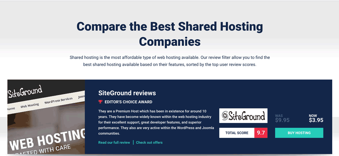 Web hosting recommendations by a reputable reviewer.