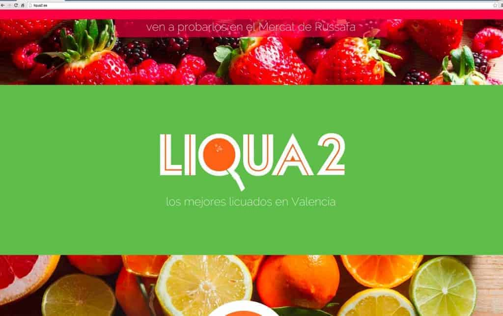 Second section of the scrolling 1-page parallax website for Liqua2, with the logo in a different colour, representing the different juices.