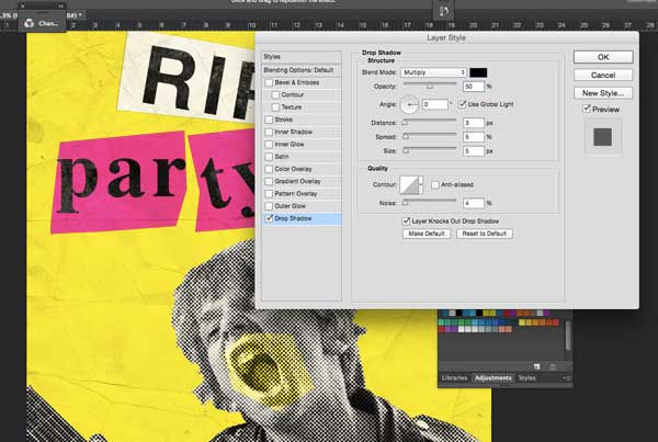 Applying the drop shadow layer style.