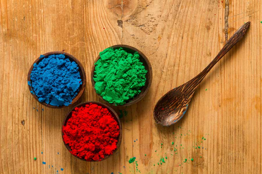 Photo by Piccia Neri, all rights reserved. A real world rendition of the RGB additive colour system used in digital environments: red, green and blue powder pigments.