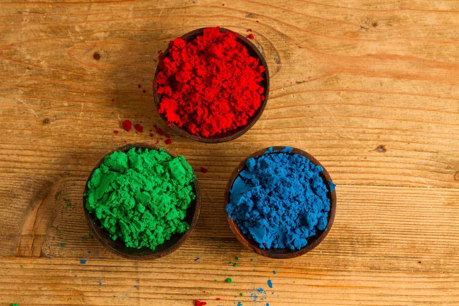 Real world representation of RGB colours, with powdered Indian pigments.