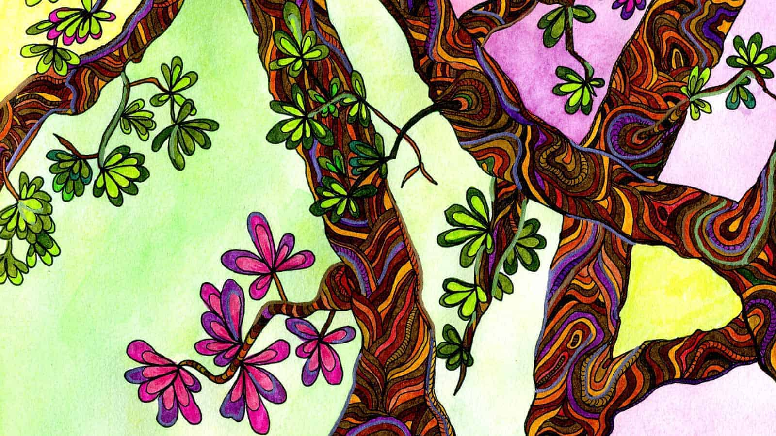 Trees drawn and coloured by Piccia Neri