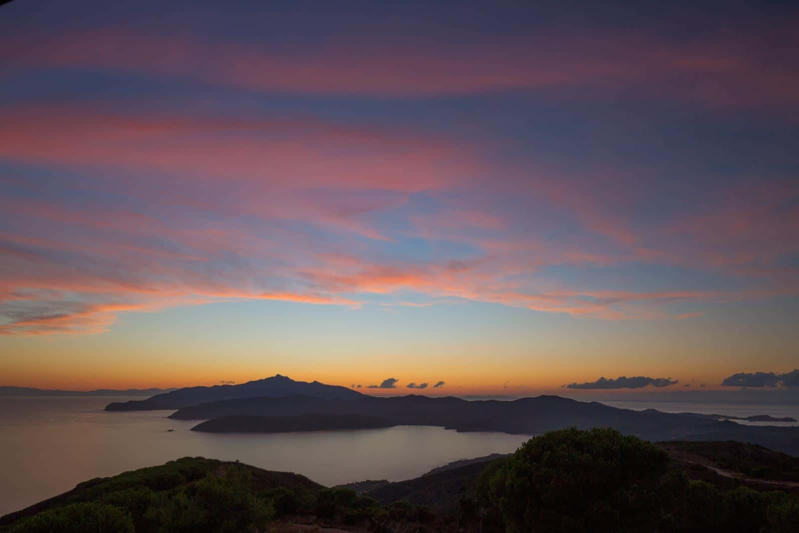 View on the Isola d'Elba from Monte Calamita at sunset. Arcipelago Toscano, Italy.