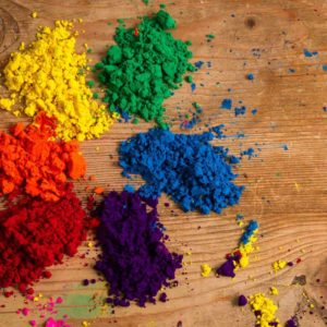 A real-world colour wheel made of powdered Indian pigments. Photo by Piccia Neri, all rights reserved.
