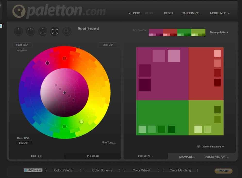 Paletton, a free online colour palette creation tool that is great for accessibility as it simulates most vision impairments.