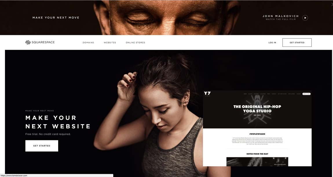 The homepage of Squarespace.