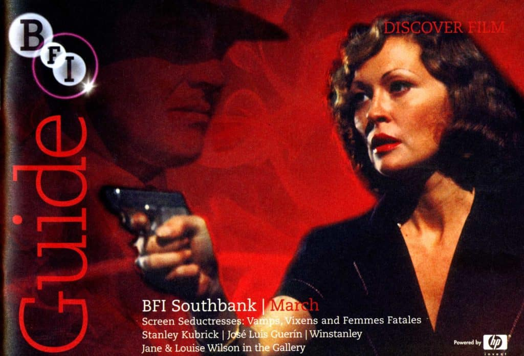 BFI Guide Cover for the Femmes Fatales season, based on two still from the film Chinatown with Faye Dunaway and Jack Nicholson